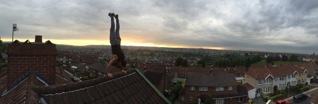 Hand stand on the edge