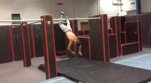 Chase Armitage Parkour professional training in the gym clip 1